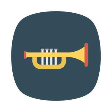 trumpet flat icon, vector, illustration