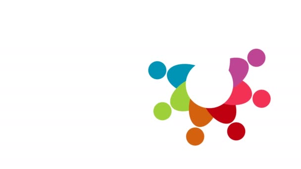 People logo. Group teamwork symbol of eight persons  in a circle.4K resolution motion graphic