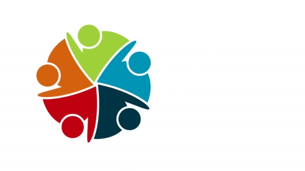 People logo. Group teamwork symbol of five persons in a circle.4K resolution motion graphic