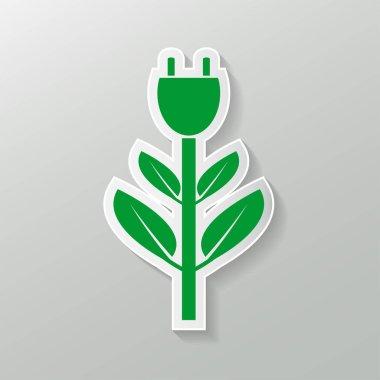 Power plug green two colors ecology emblem or logo,Vector illustration