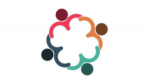 Emberek logója. Csoport csoportmunka szimbóluma négy személy egy kört. 4k felbontás Motion Graphic
