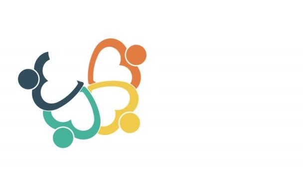 Logo osoby. Skupinový symbol týmové práce pěti osob v kruhu. rozlišení 4 KB pohyb grafika