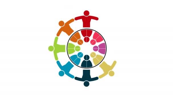 Menschen-Logo. Gruppenarbeit Symbol von acht Personen in einem Kreis. 4k Auflösung Bewegungsgrafik