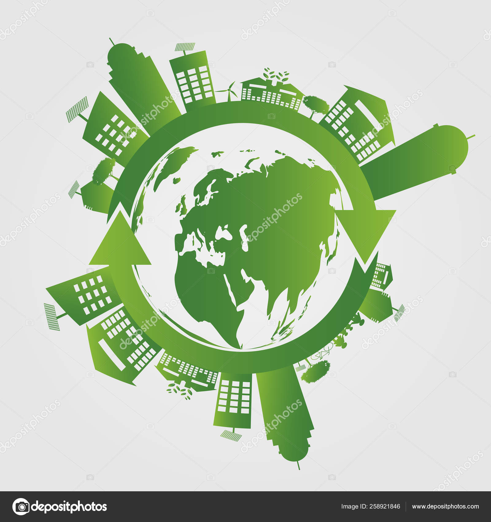 Ecology Concept Save World Ggreen Cities Helps The World With Eco