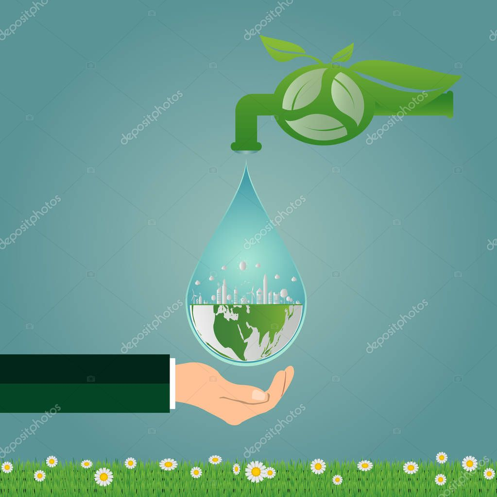 Ecology,save water clean energy recycling and hand holding,Green cities help the world with eco-friendly concept ideas.vector illustration