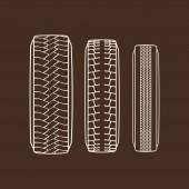 Autoreifen und Spur Spuren Vektor isolierte Symbole der Reifenprofil-Muster
