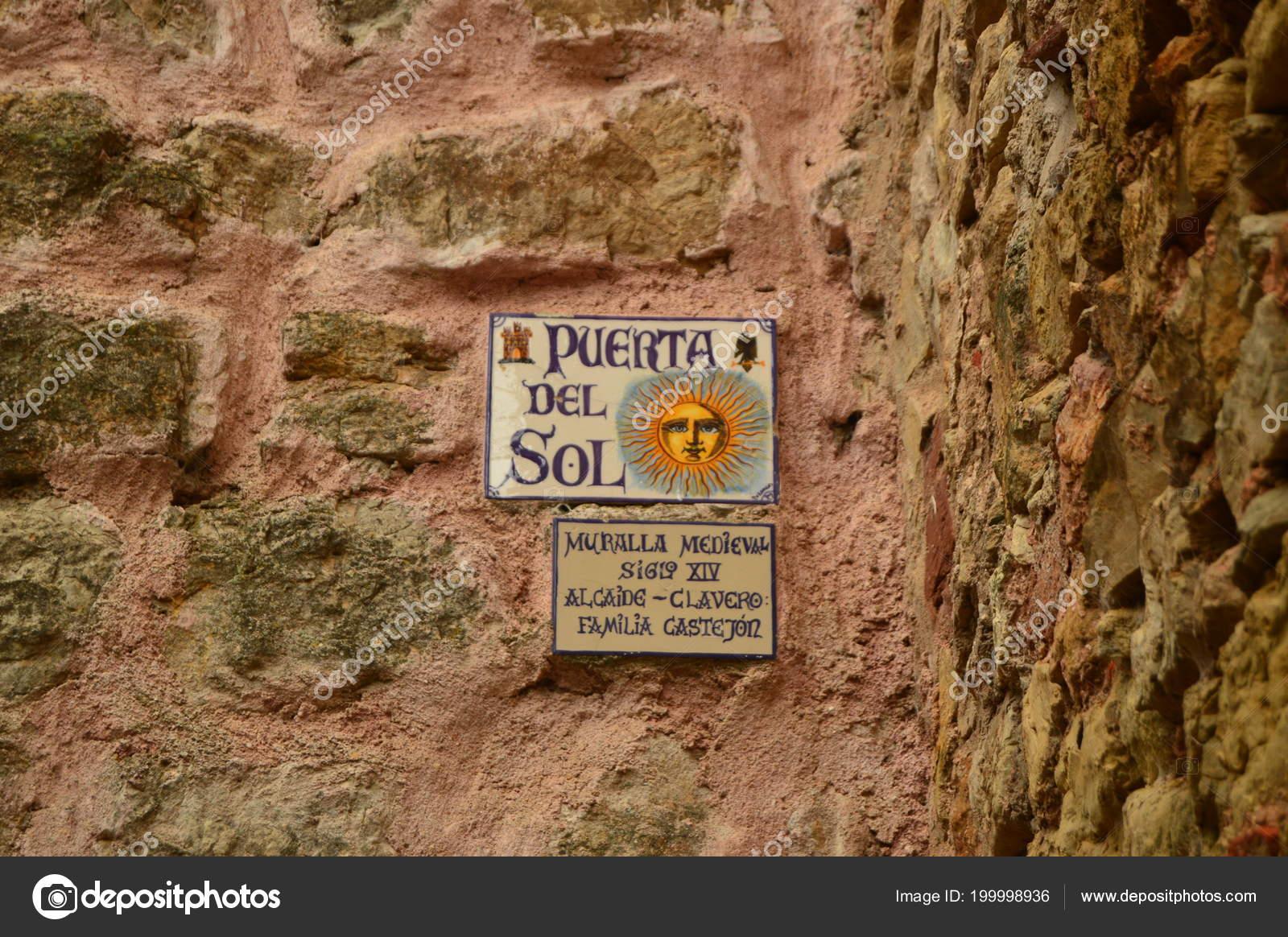 Placard Sun Door Medieval Wall Xiv Century Siguenza Architecture Travel u2014 Stock Photo & Placard Sun Door Medieval Wall Xiv Century Siguenza Architecture ...