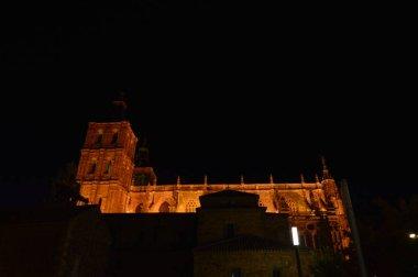 Beautiful Night Shot Of The Cathedral In Astorga. Architecture, History, Camino de Santiago, Travel, Night Photography. November 3, 2018. Astorga, Leon, Castilla-Leon, Spain.