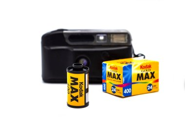 Bangkok Thailand - May 16, 2018: Kodak Gold Max 400 for film camera, Old various vintage 35mm film rolls, isolated on white background.