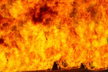 Large flame  Fire rages, For burning The burning for background