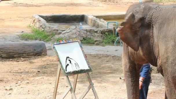 Elefánt és a Show, Elephant festés elefánt kép és fa keret: Lampang, Thaiföld