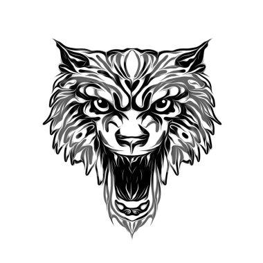 wild wolf face tatoo