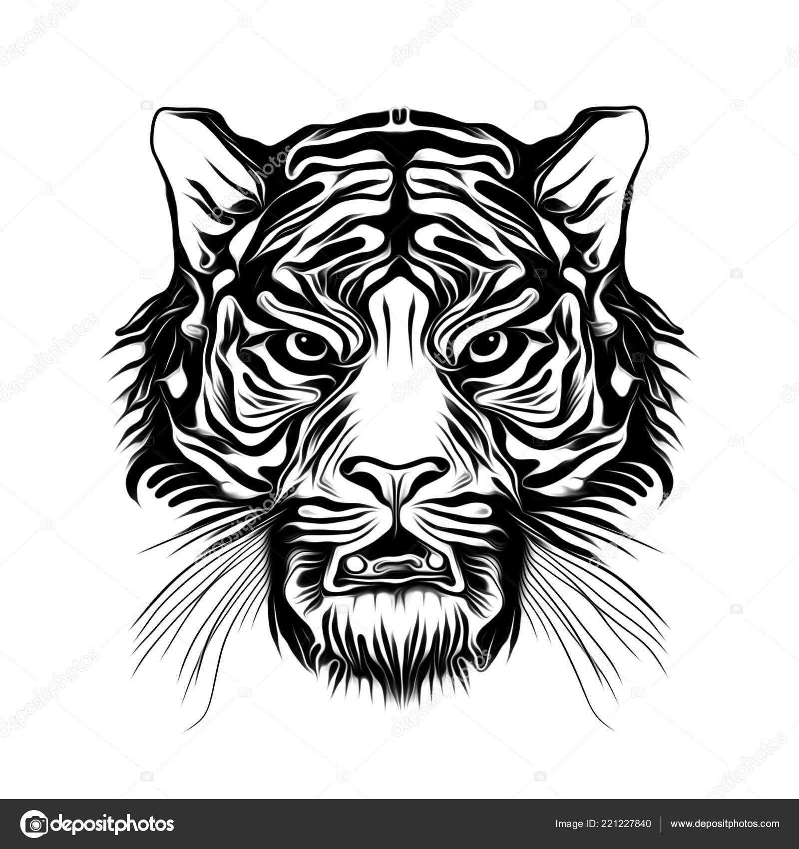 Wilde Tijger Gezicht Tattoo Stockfoto Valik4053022