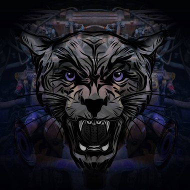 Pantera on black background