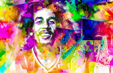 colorful paint splashes digital illustration with bob marley face