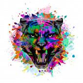 Tygří hlava barevné ilustrace na bílém pozadí