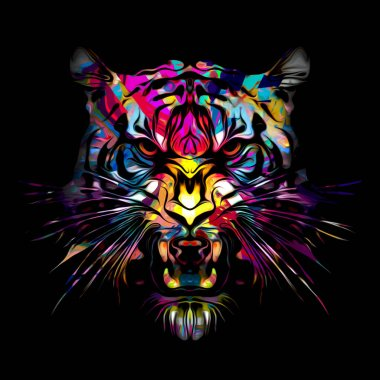 Colorful abstract tiger on black background stock vector