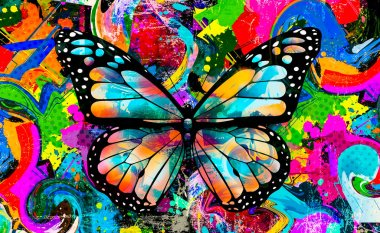 abstract colorful background with butterfly