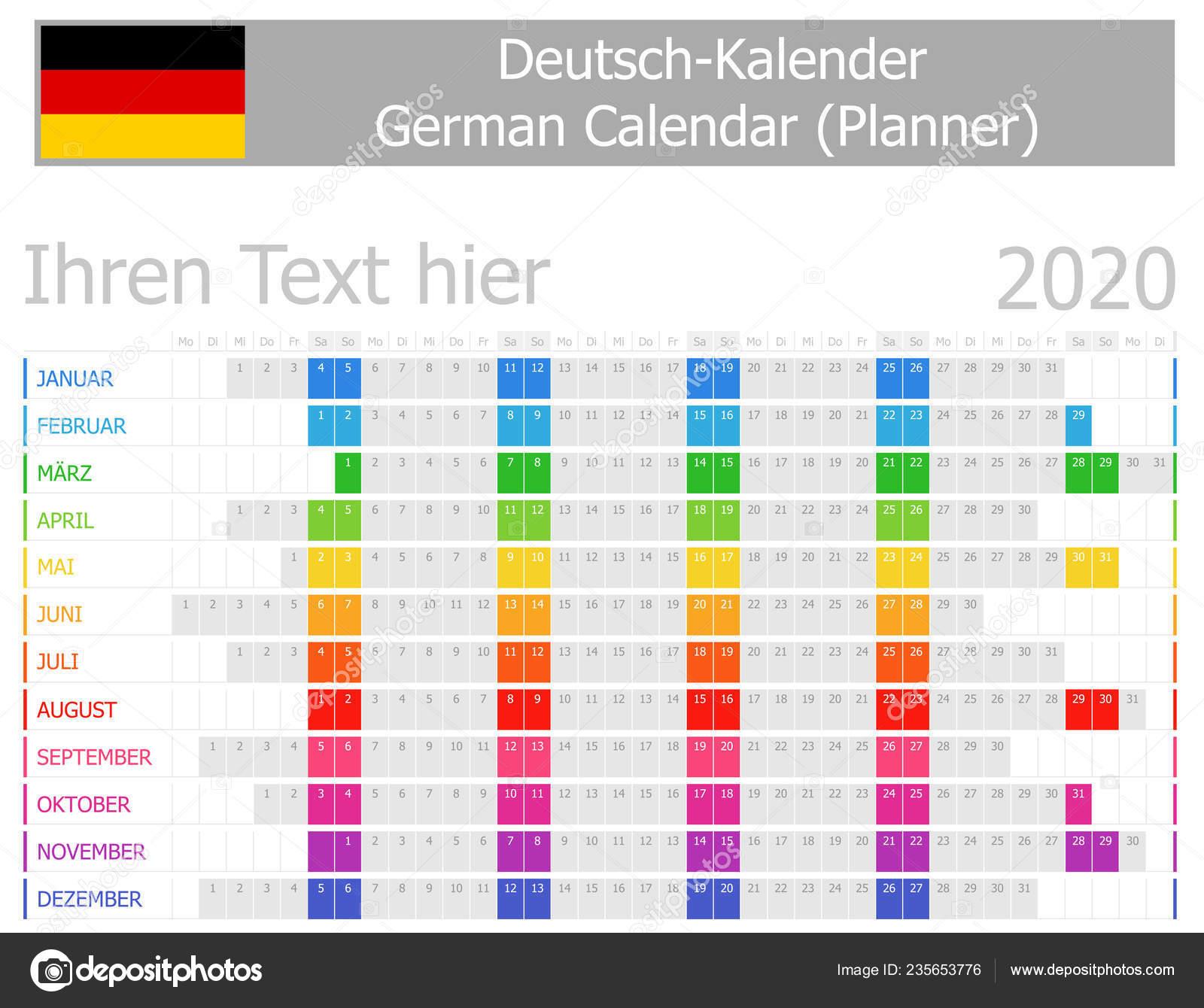 Calendrier Allemand 2020.2020 Allemand Planificateur Calendrier Avec Mois Horizontal