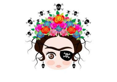Emoji baby Frida Kahlo with crown and of colorful flowers, Pirate icon Emoji, vector isolated