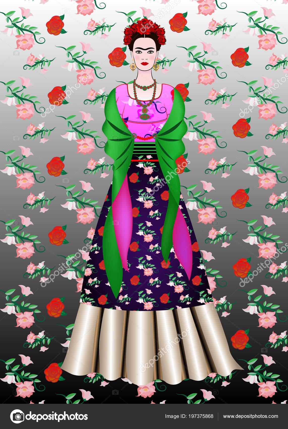 Peinado De Mujer Mexicana Retrato Vector Frida Kahlo Mujer