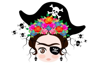 Emoji baby Frida Kahlo with crown and of colorful flowers, Pirate hat icon Emoji with skulls vector isolated.