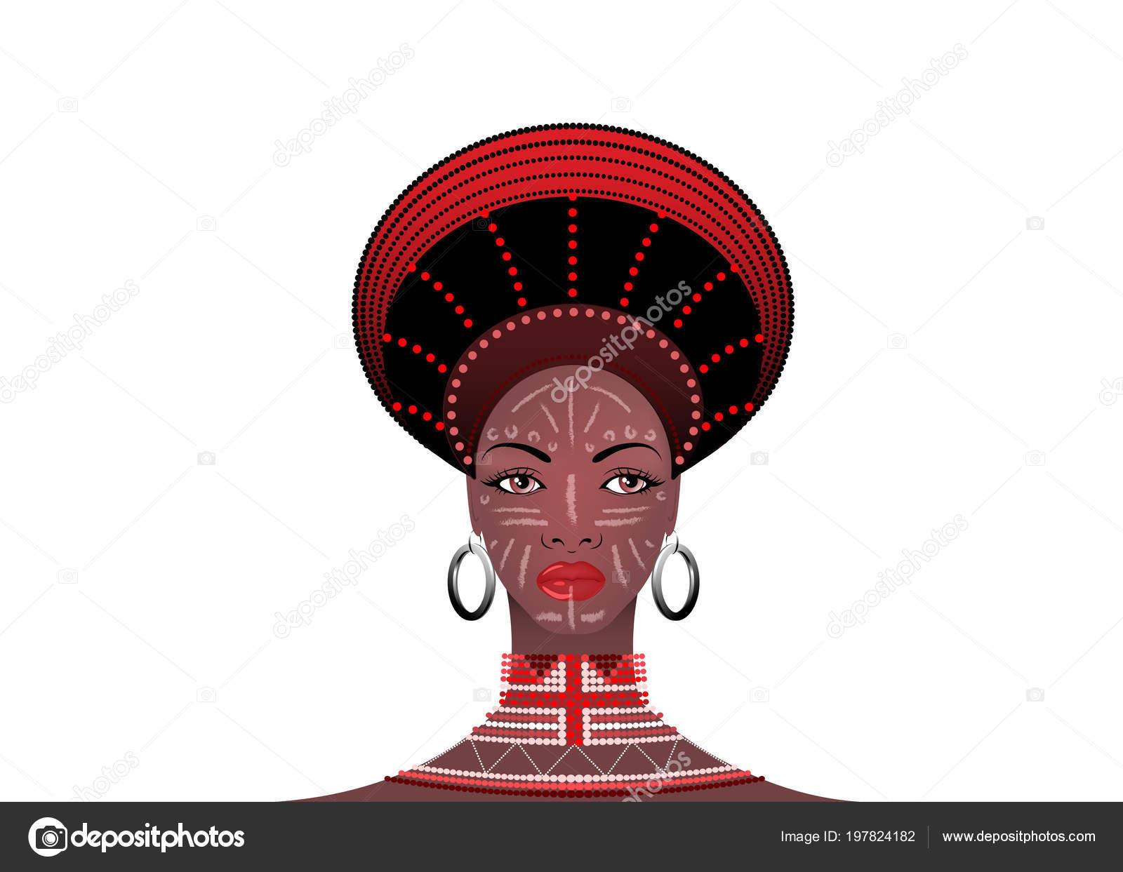 Africain Tribu Coiffure Femme Zoulou Portrait Une Femme Sud