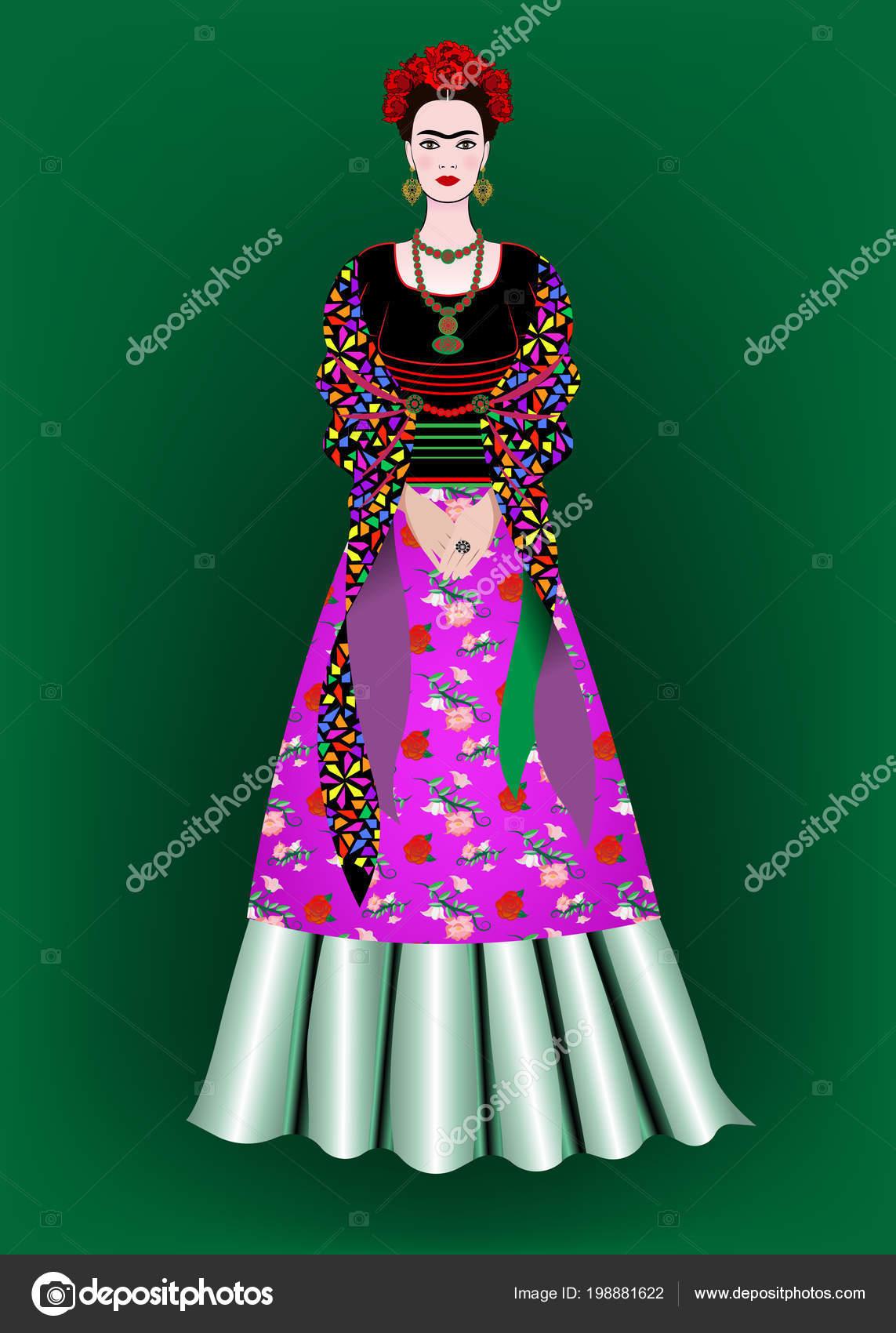 Retrato Vector Frida Kahlo Mujer Mexicana Con Peinado