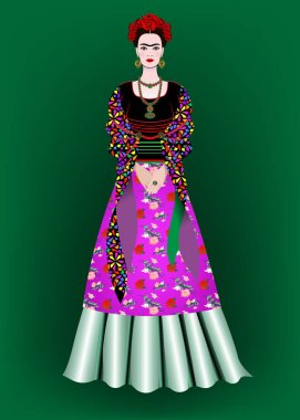 Frida Kahlo vector portrait,  mexican woman with a traditional hairstyle. Mexican crafts jewelry and red flowers. Animation portrait of the young Mexican girl in ancient clothes, traditional Mexican dress, Vector illustration isolated on green