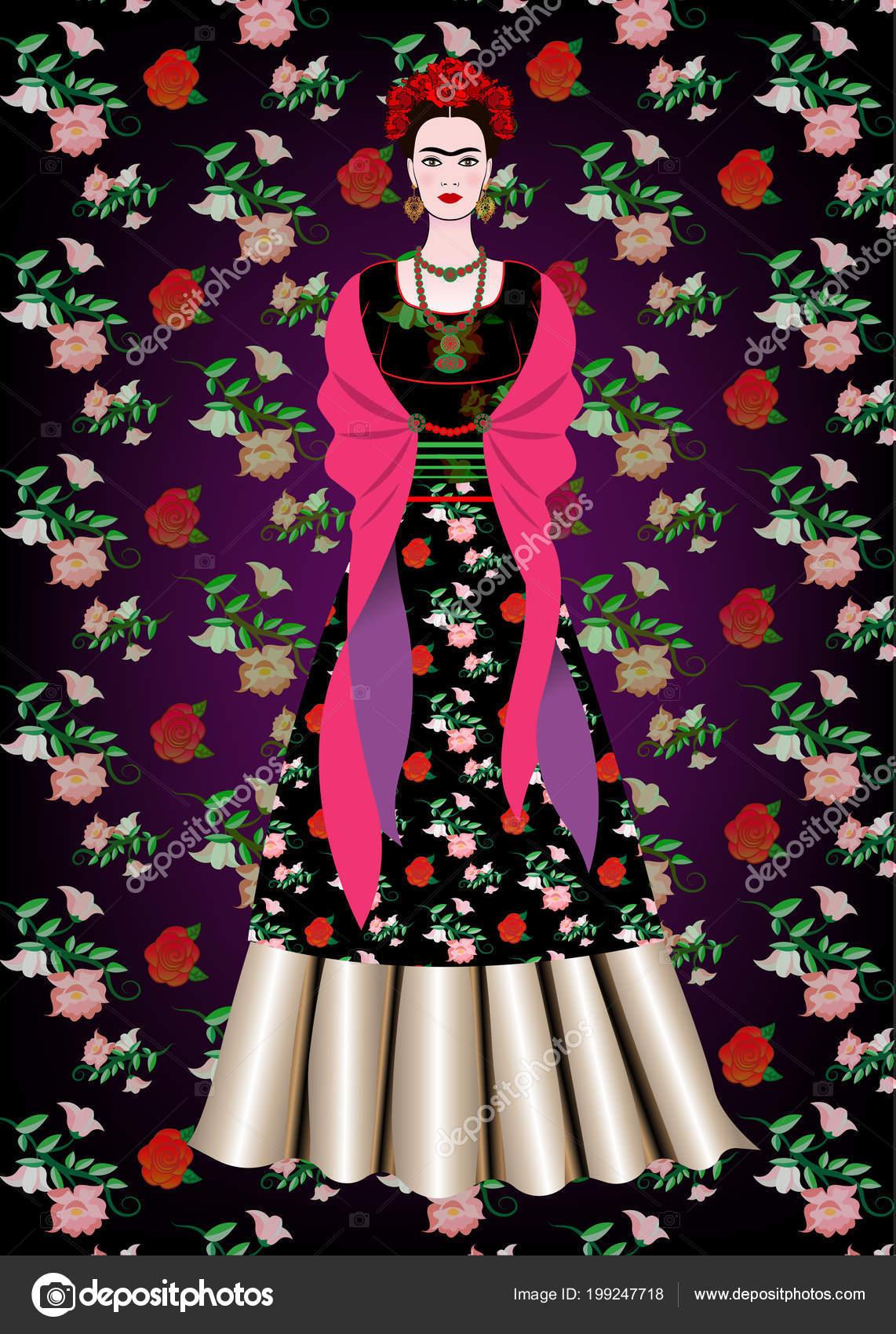 92e3f3fdca Retrato Vector Frida Kahlo Mujer Mexicana Con Peinado Tradicional Artesanías  — Archivo Imágenes Vectoriales