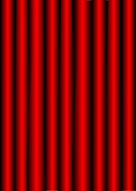 Close view of a red velvet curtain. Theater background Vector illustration