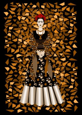 Frida Kahlo vector portrait,  mexican woman with a traditional hairstyle. Mexican crafts jewelry and red flowers. Animation portrait of the young Mexican girl in ancient clothes, traditional Mexican dress, Vector illustration triangles background