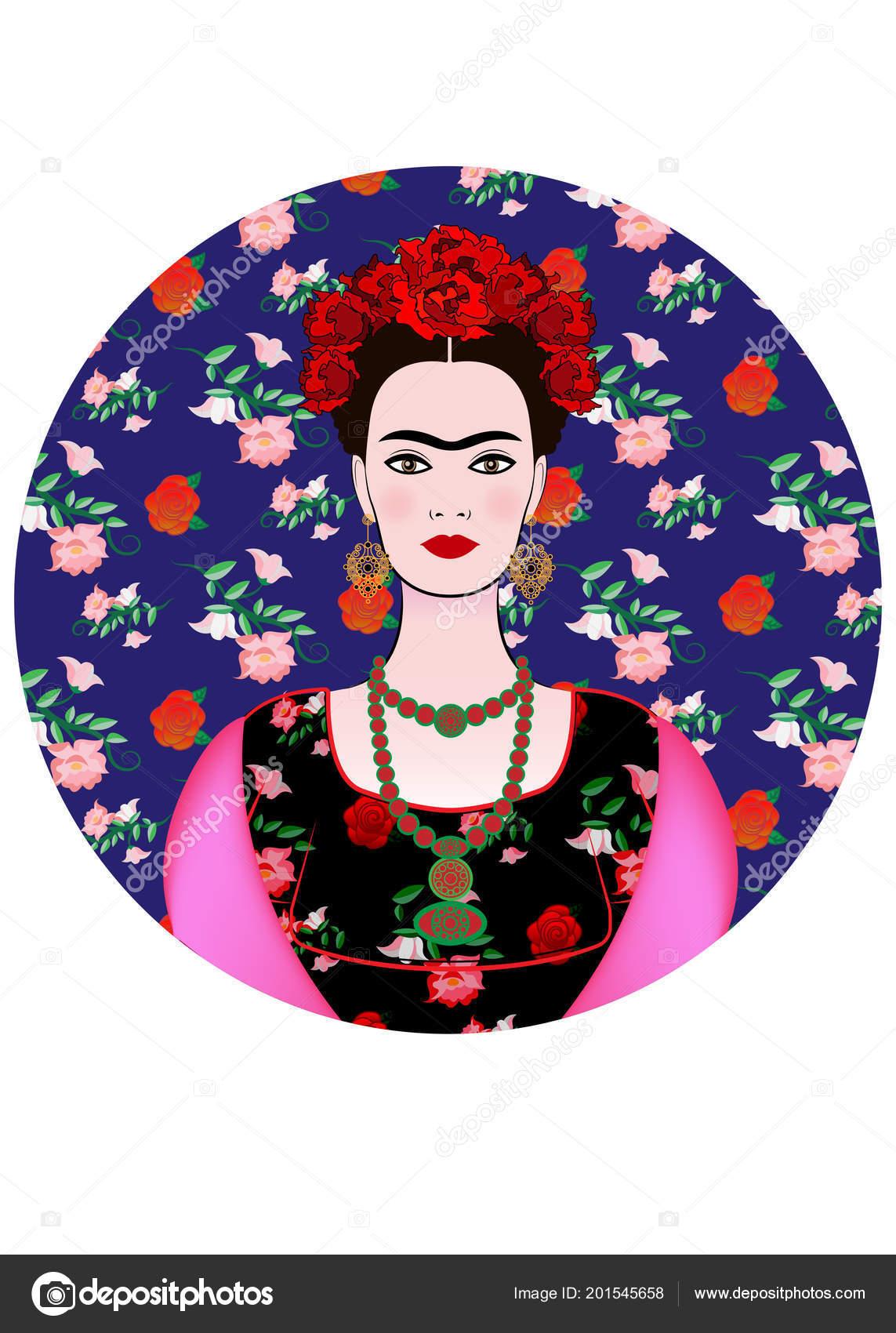 199a8faaf2 Retrato Vector Frida Kahlo Mujer Mexicana Hermosa Joven Con Peinado ...