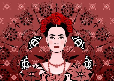 Portrait of the young beautiful mexican woman with a traditional hairstyle. Mexican earrings, crown of flowers and red flowers, Traditional Mexican dress, death's day. Vector floral mandala background