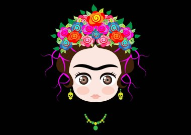 Emoji baby Frida Kahlo with crown of colorful flowers and earrings skull, vector illustration isolated on black background