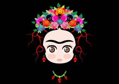 Emoji baby little Frida Kahlo, Mexican girl with crown of colorful flowers and earrings red skulls, Medusa or Gorgon head style, vector illustration isolated on black background
