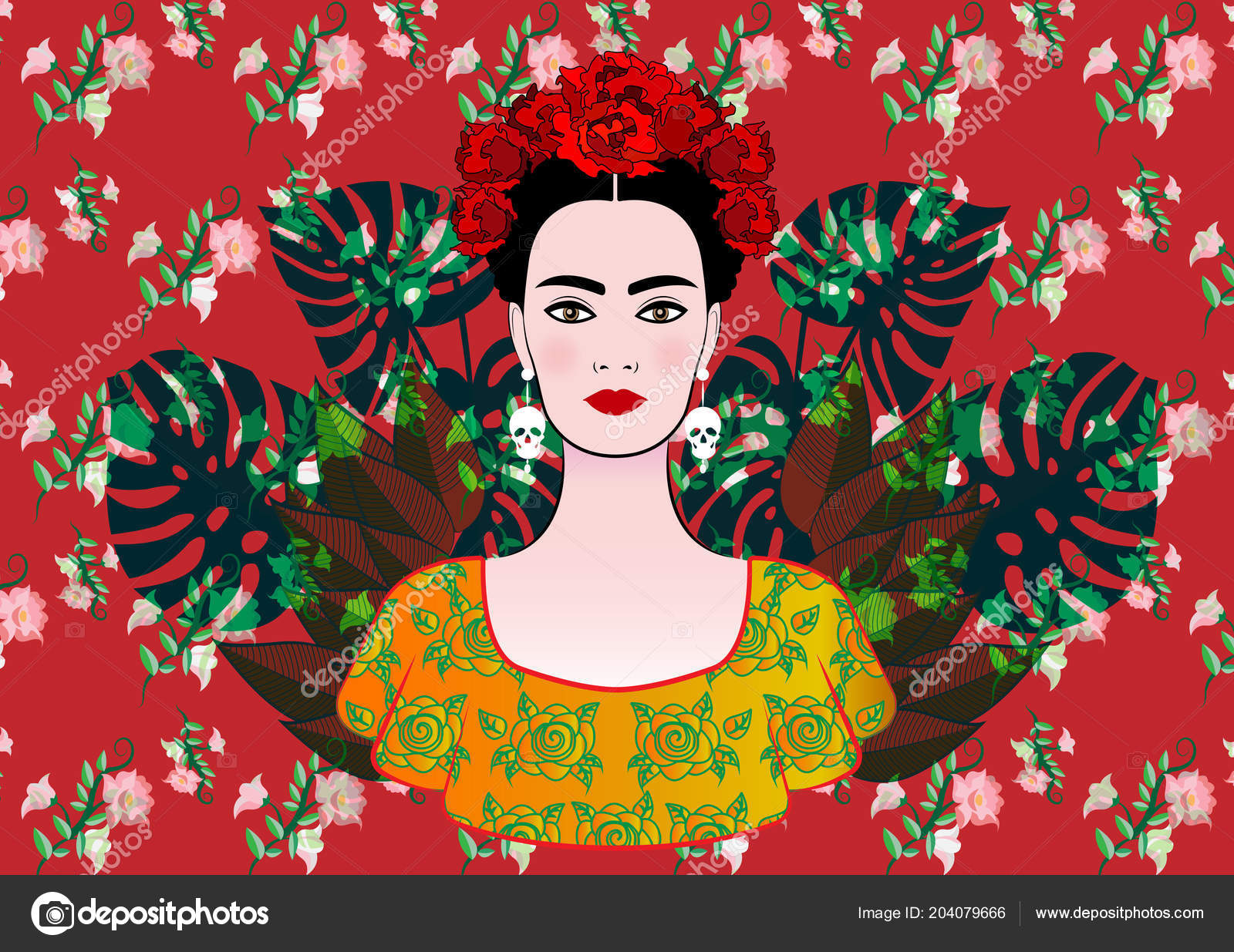 Portrait Of The Young Beautiful Mexican Woman With A Traditional