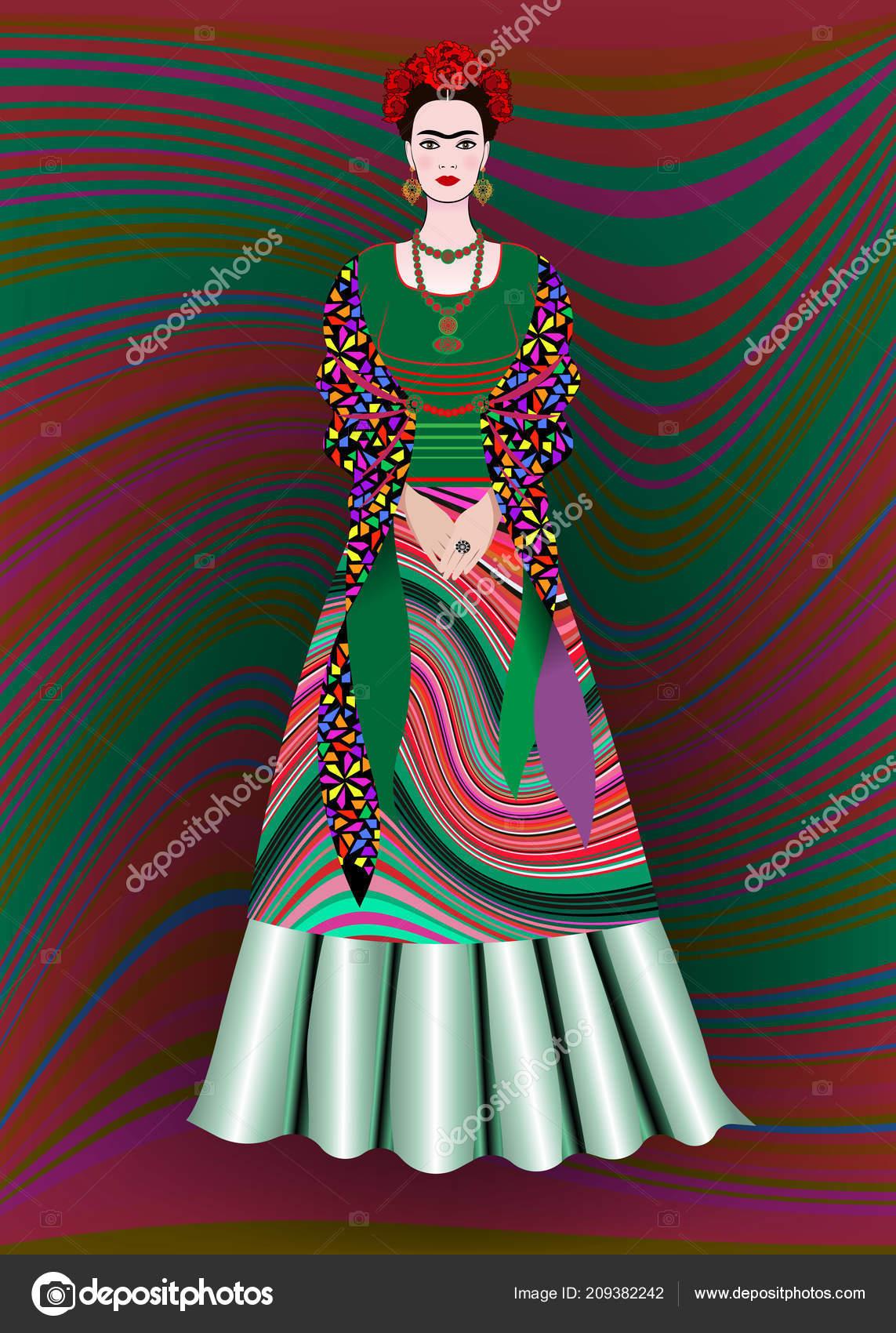 b5e8f91e5b Retrato Vector Frida Kahlo Mujer Mexicana Con Peinado Tradicional Artesanías  — Vector de stock