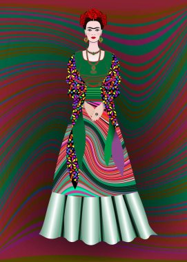Frida Kahlo vector portrait,  mexican woman with a traditional hairstyle. Mexican crafts jewelry and red flowers. Animation portrait of the young Mexican girl in ancient clothes, traditional Mexican dress. Blanket Stripes wavy shape background