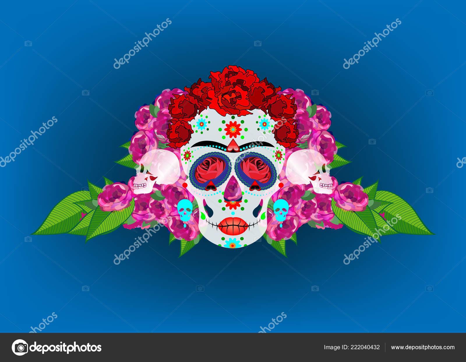 Calavera Mexicana Calavera Con Flores Decoración Para Día