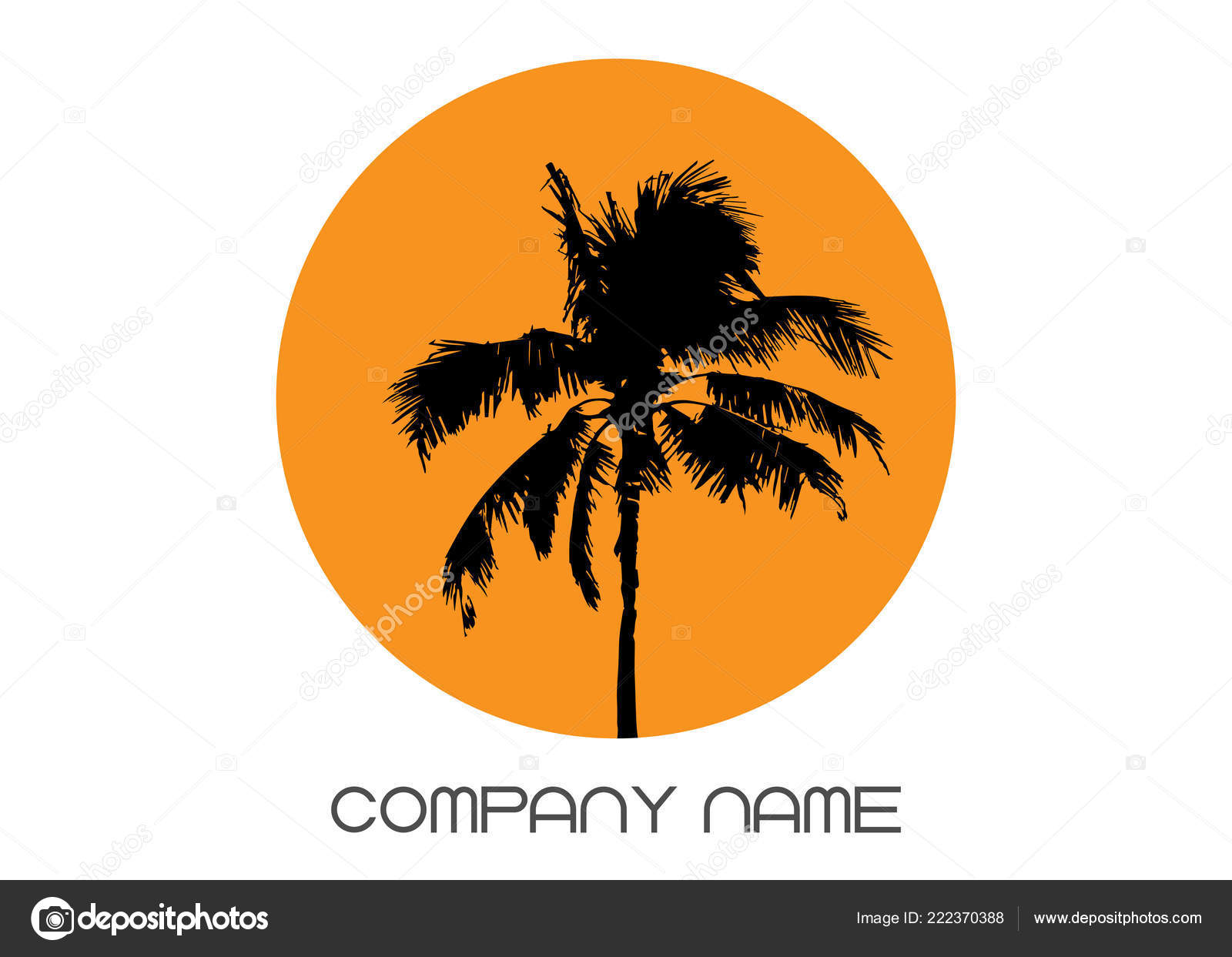Palm Tree Summer Logo Template Tropical Palm Tree Black Silhouette