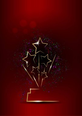 vector illustration abstract golden stars logo icon. Academy award icon in flat style isolated or red background, gold Silhouette statue icon. Films and cinema symbol stock
