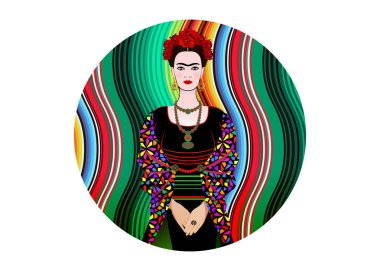 Frida Kahlo vector portrait , young beautiful mexican woman with a traditional hairstyle,  Mexican crafts jewelry earrings and necklace, Mexican Blanket Stripes background, diadem vector isolated