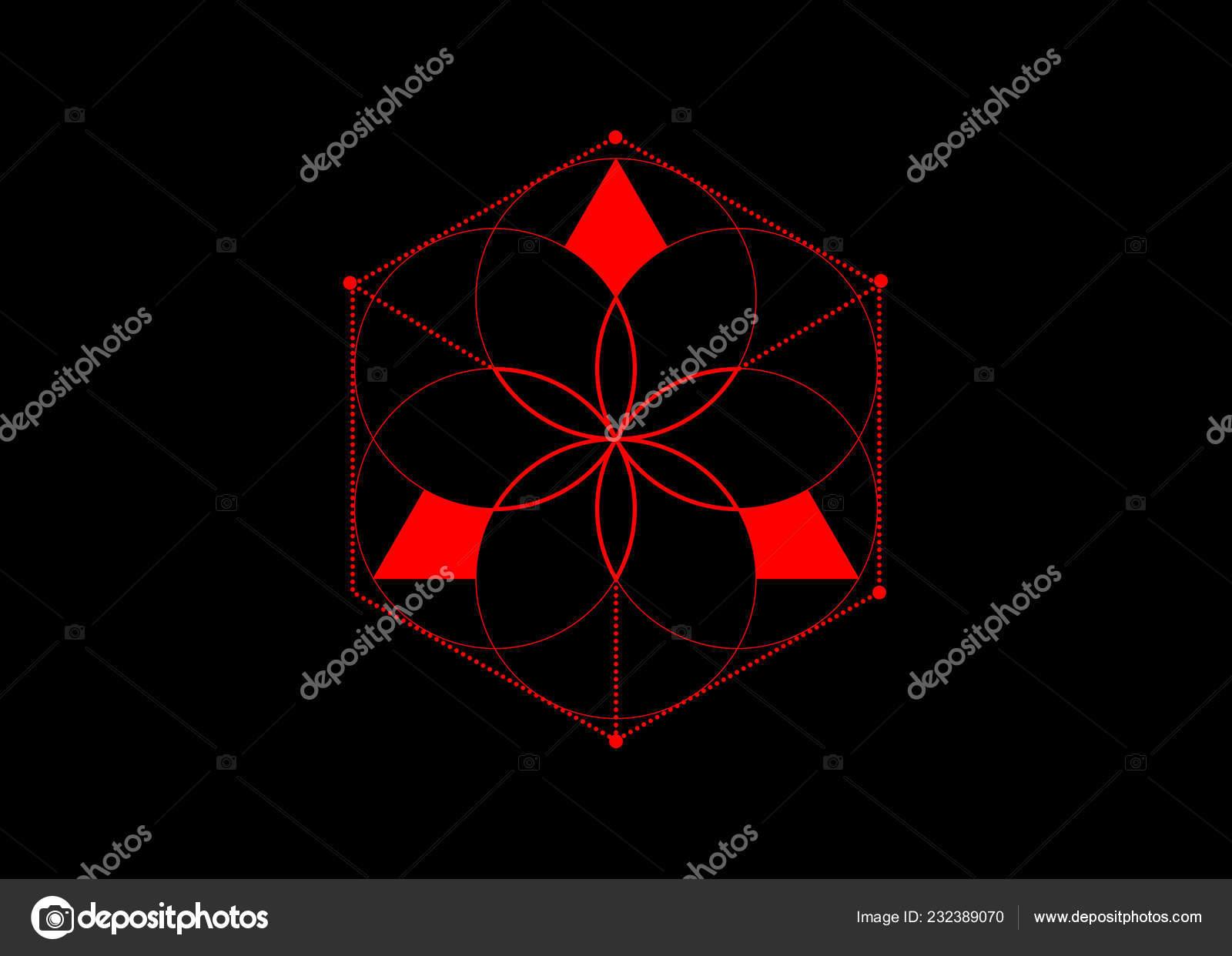 Symbole Alchimie ésotérique Rouge Fleur Vie Géométrie Sacrée élément