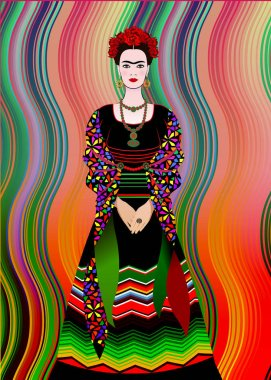 Frida Kahlo vector portrait,  mexican woman with a traditional hairstyle. Mexican crafts jewelry and red flowers. Animation portrait of the young Mexican girl in ancient clothes, traditional Mexican dress, Vector isolated or Mexican Blanket Stripes