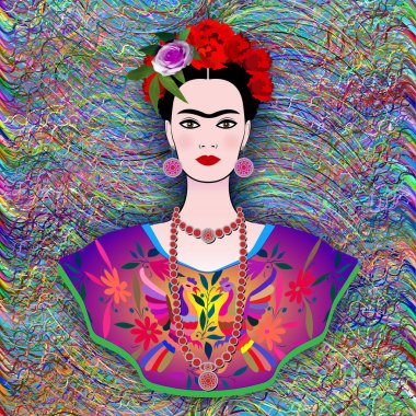 Frida Kahlo vector portrait , young beautiful mexican woman with a traditional hairstyle, Mexican crafts jewelry and dress, vector. Frida Ethnic Mexican dress with colorful embroidery striped hand-made. Naive print folk decorations