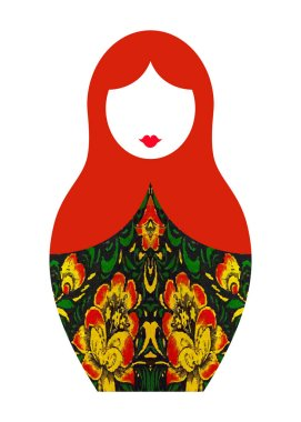 Matryoshka icon Russian nesting doll with typical russian floral ornament texture, vector isolated or white background