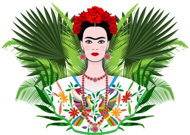 Florence, Italy  10/10/2018 : Frida Kahlo portrait, Mexican woman with a traditional hairstyle, floral and palms exotic background