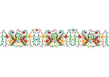 Mexican Traditional Textile Embroidery Style from Tenango City, Hidalgo, Mxico. Template Floral Composition with Birds, Peacock, colorful seamless frame composition isolated or white background
