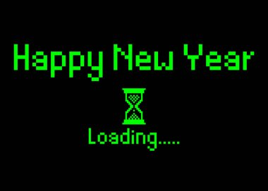 Happy new year with loading icon pixel art bitmap style. Progress bar almost reaching new year's eve. Green neon Vector flat design 2020 loading pixel hourglass cursor. Isolated or black background